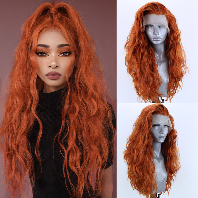 Charisma Orange Heat Resistant Fiber Hair Synthetic Lace Front Wigs for Women Long Body Wave Cosplay Wig with Side Part