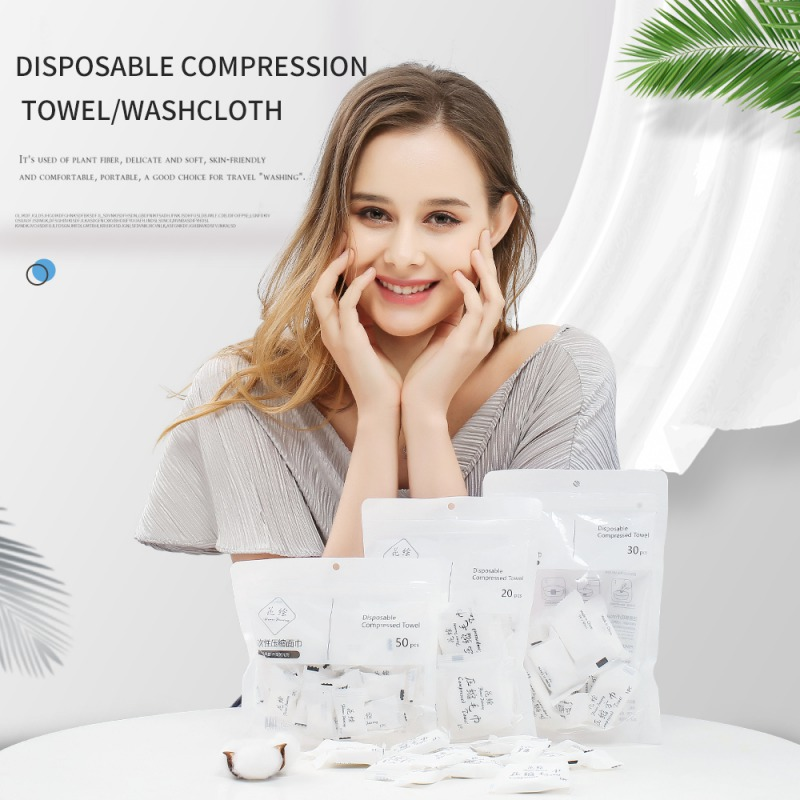 20pcs Disposable Pure Cotton Compressed Portable Travel Face Towel Water Wet Wipe Washcloth Napkin Outdoor Moistened Tissues