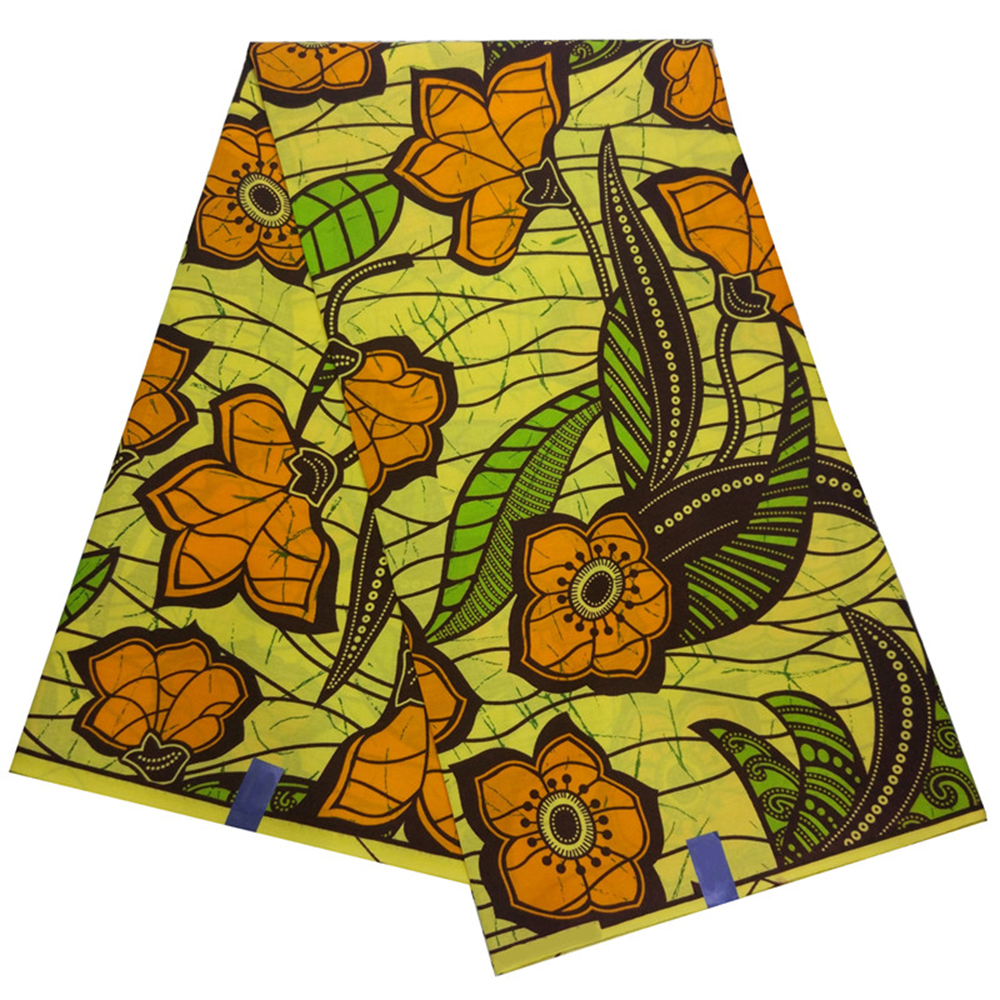 2019 New African Dashiki Yellow Wax Fabric Flowers Print Casual Women Dresses Fabric