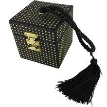 New fashion lady brand luxury design square box lock rivet tassels mirror small fairy portable casual evening bag female handbag