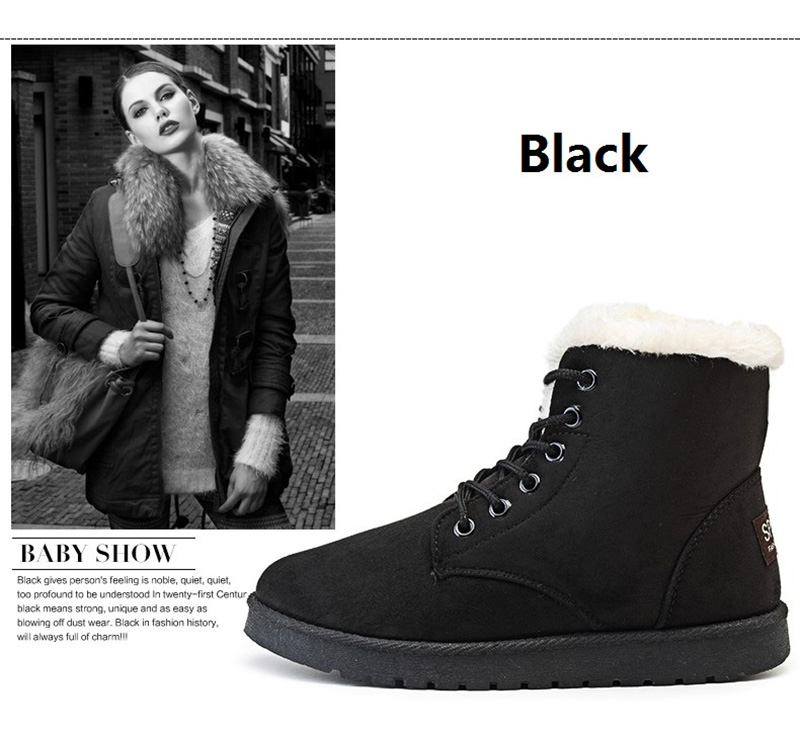 Women Flock Fur Flat Lace Up Winter Snow Suede Ankle Boots Female 17