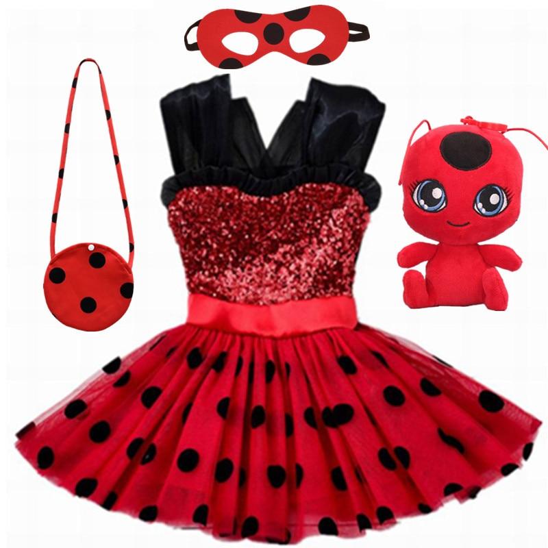 Carnaval 2020 vermelho bug cosplay meninas vestido de verão roupas redbug vestido de festa dia das crianças rendas dot bebê meninas vestidos