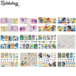 Image 2 - Rolabling Marble Geometry Series Nail Stickers Water Transfer Decal Wraps Sliders Nails Accessories Sticker Nail Art Decorations