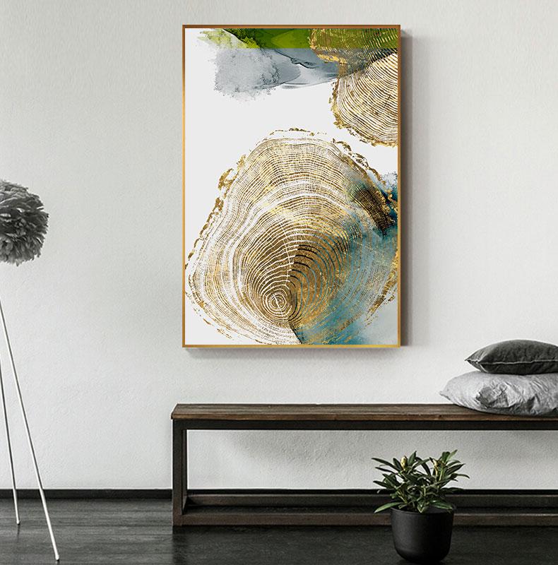 H2d5a96634d5e4fbb8a26893843e6ce7by Abstract Golden Leaf Vein Painting Tableaux Big Poster Print HD Wall Art for Living Room Entrance Aisle cuadros Salon decoracion