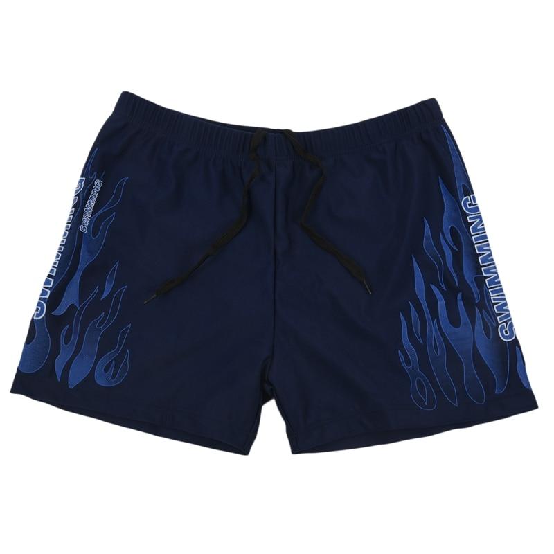 Men Burning Fire Swimming Brief Breathable Short Sports Underwear Summer Swim Trunks-Blue + White XL