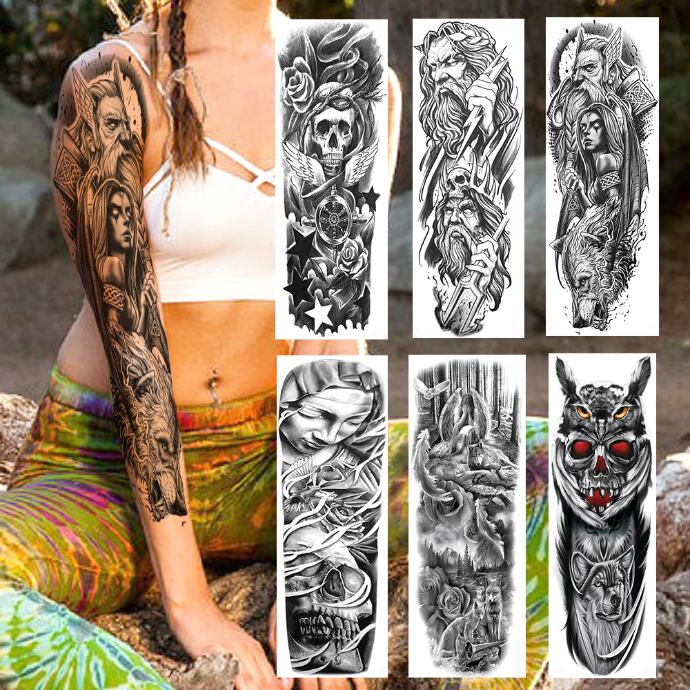 Black Sparta Warrior Military Temporary Tattoos Sticker Tribal Wolf Full Arm Fake Owl Skull Sleeve Tatoo For Men Boys Party Show