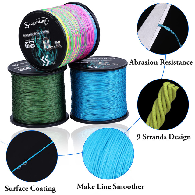 Best Sougayilang New 9Strands PE Fishing Line Raid Fishing Line Fishing Lines cb5feb1b7314637725a2e7: Blue|Green|Multicolor