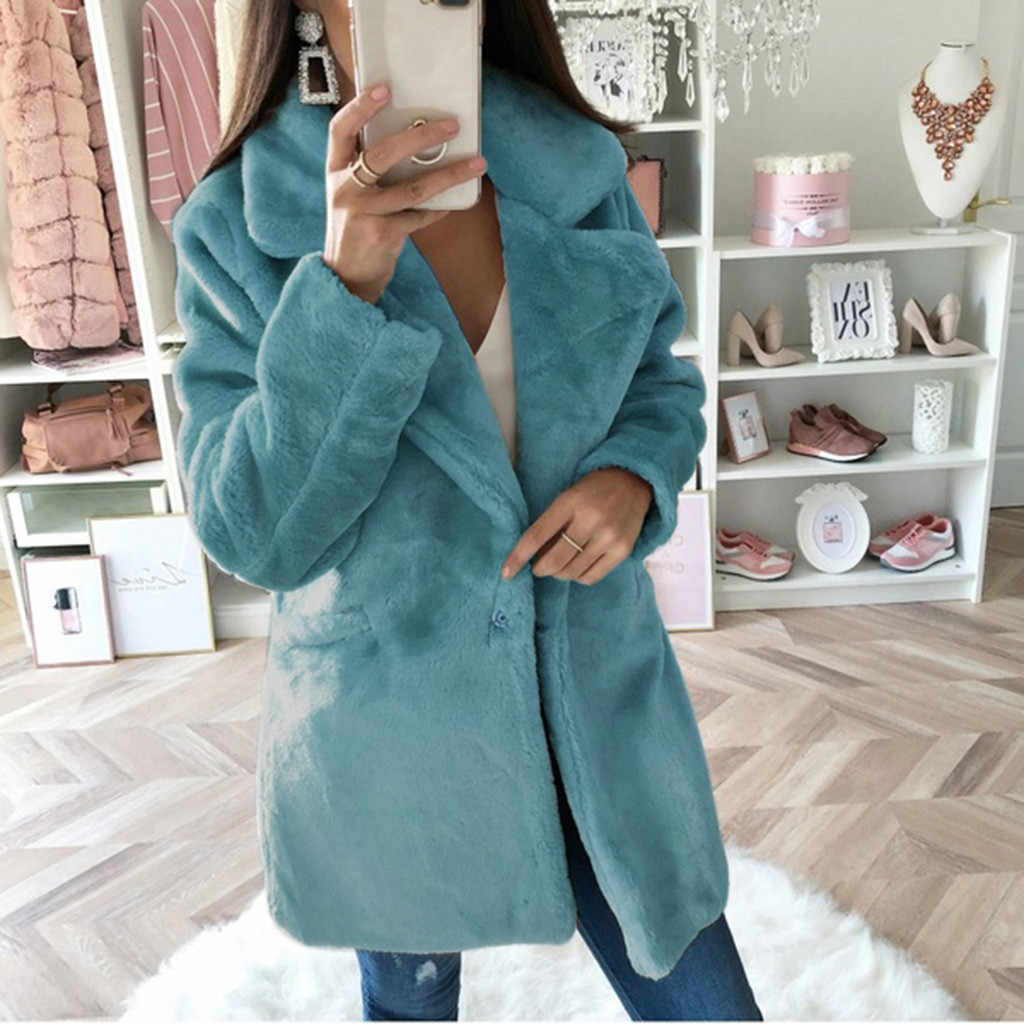2019 Winter Warme Mäntel Frauen Schlank Dicken Mantel Solide Taschen Jacke Strickjacke Casual Oversize Outwear Jacken Mantel #1016