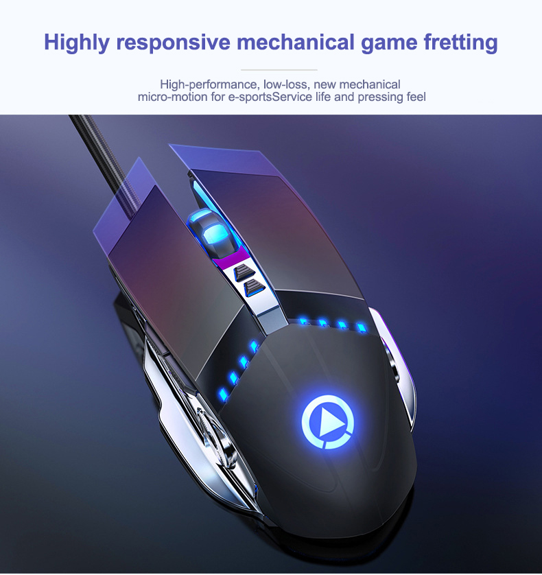Pro Gaming Mouse 3200DPI Adjustable Silent Mouse Optical LED USB Wired Computer Mouse Notebook Game Mice for Gamer Home Office