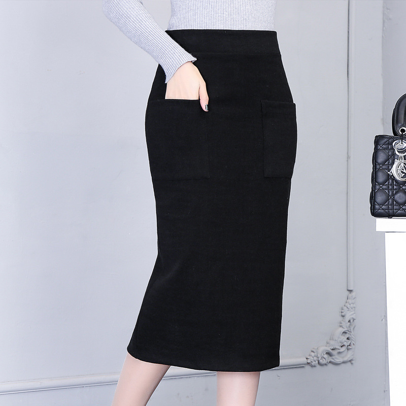 Woolen Skirt Autumn And Winter Slim Fit Fashion With Pocket Skirt Medium-length Dress One-step Skirt Women's Thick Wrapped Skirt