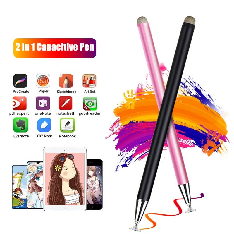 FONKEN Universal 2 in 1 Stylus Pen Magnetic Cap Capacitive Screen Touch Pen Fiber&Disc Nib High Precision Drawing Smart Pencil