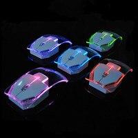 Mouse sem fio  mouse colorido transparente luminoso