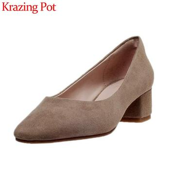 Krazing pot new handmade brand shoes kid suede square toe med heel shoes women simple style cozy shallow slip on women pumps L11
