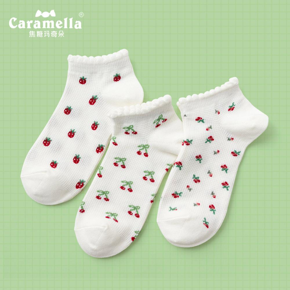 Caramella 2020 New Design Women Socks 3Pairs Cute Strawberry Cherry Girls Invisible Socks Funny Spring Cotton Ankle Lady Socks