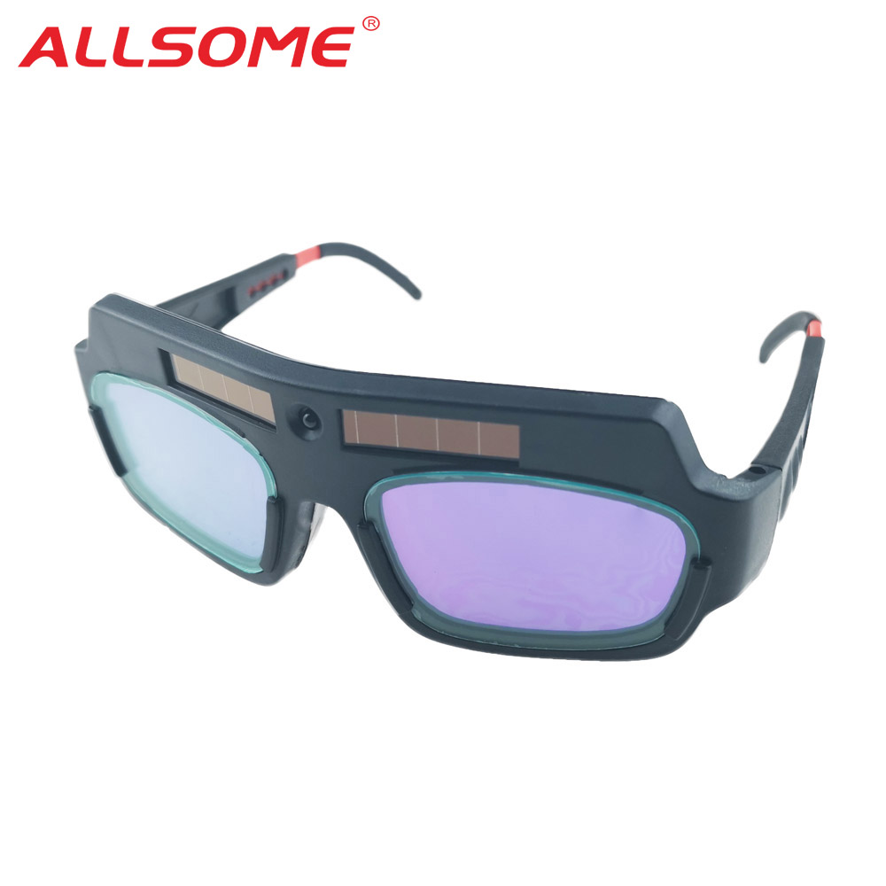 ALLSOME Solar Powered Auto Darkening Welding Mask Helmet Goggle Welder Glasses Arc PC Lens Great Goggles For Welding Protection
