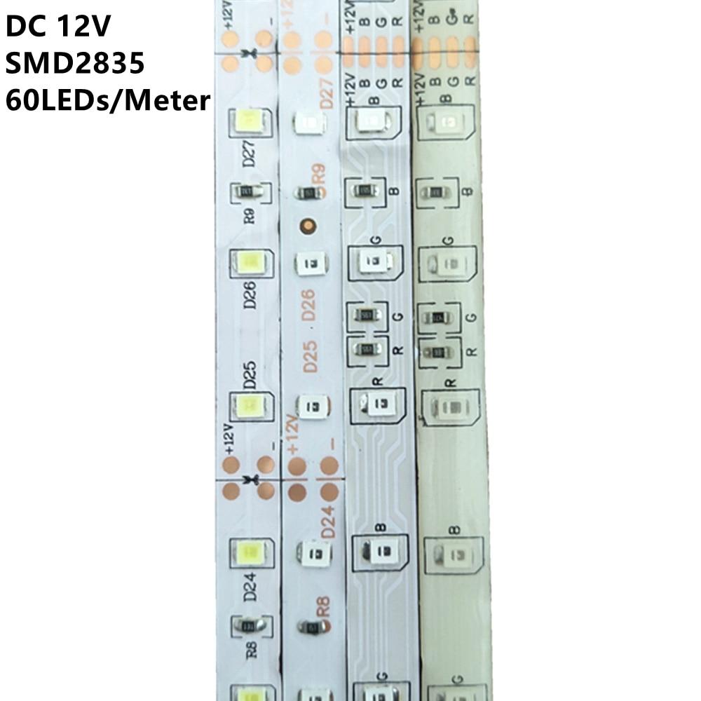 1M 2M 3M 4M 5M Waterproof RGB Led Strip Light 2835 DC12V 60Leds/M Flexible Lighting Ribbon Tape White/Warm White/Blue Strip