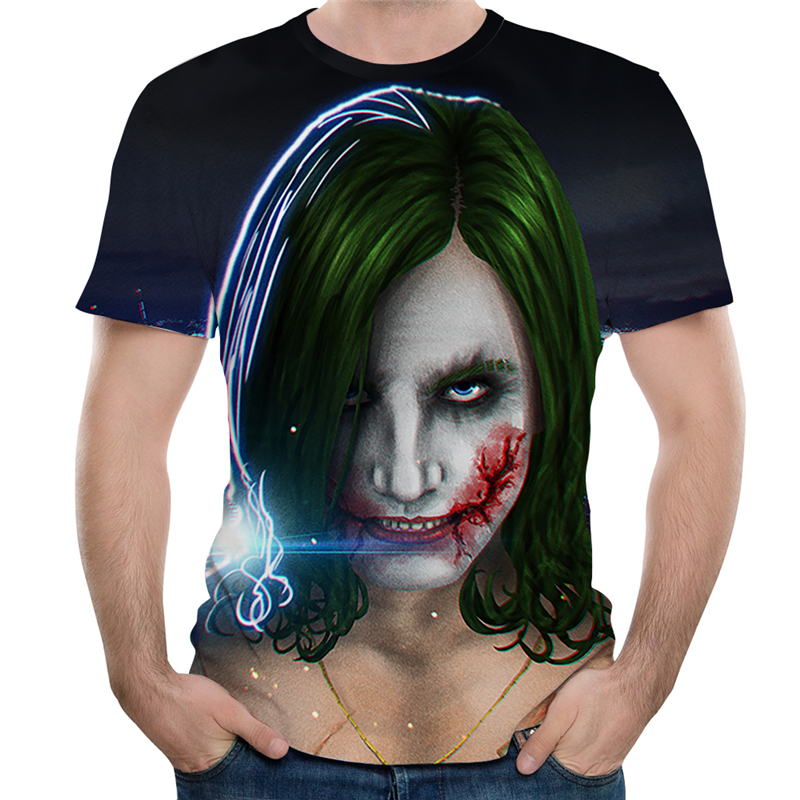 Summer Newest Girl Clown 3D Printed T Shirt Men Joker Face Casual Male Tshirt Clown Short Sleeve Funny T Shirts Men Tee Tops 4XL
