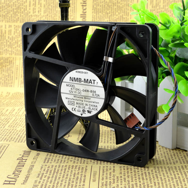 For NMB 4710KL-04W-B56 12cm 12025 <font><b>120mm</b></font> 0.72A 4-wire <font><b>PWM</b></font> industrial case axial cooling <font><b>fans</b></font> image