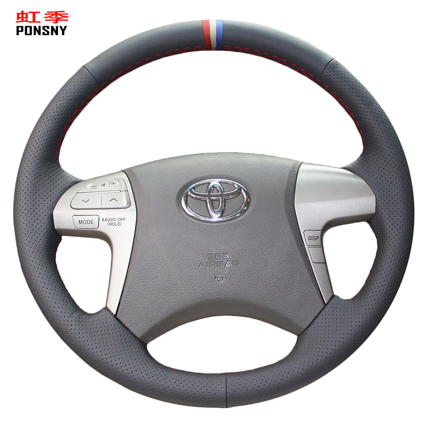 PONSNY Artificial Leather <font><b>Car</b></font> Steering <font><b>Wheel</b></font> <font><b>Covers</b></font> for <font><b>Toyota</b></font> Highlander 2009-2014 Camry 2007-2011 Black leather image