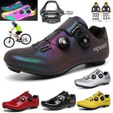 Profesjonalne sportowe buty do jazdy na rowerze MTB obuwie rowerowe mężczyźni samoblokujące buty rowerowe sapatilha ciclismo kobiety kolarstwo trampki tanie tanio pscownlg CN (pochodzenie) Skórzane Dla dorosłych Oddychające Phylon (md) Extranarrow (aaa +) vibram Hook loop cycling shoes