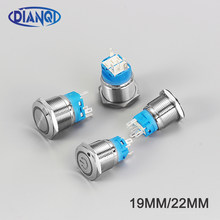 Jenis Baru 19mm22mmWaterproof Sesaat Menempel Stainless Steel Logam Bel Pintu Bell Horn Push Button Switch LED Mobil Auto EnginePC(China)
