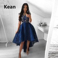 Royal Blue Lace Homecoming Dresses High Low Cap Sleeve Illusion Short Front Long Back A Line vetidos Elegant Cocktail Dresses