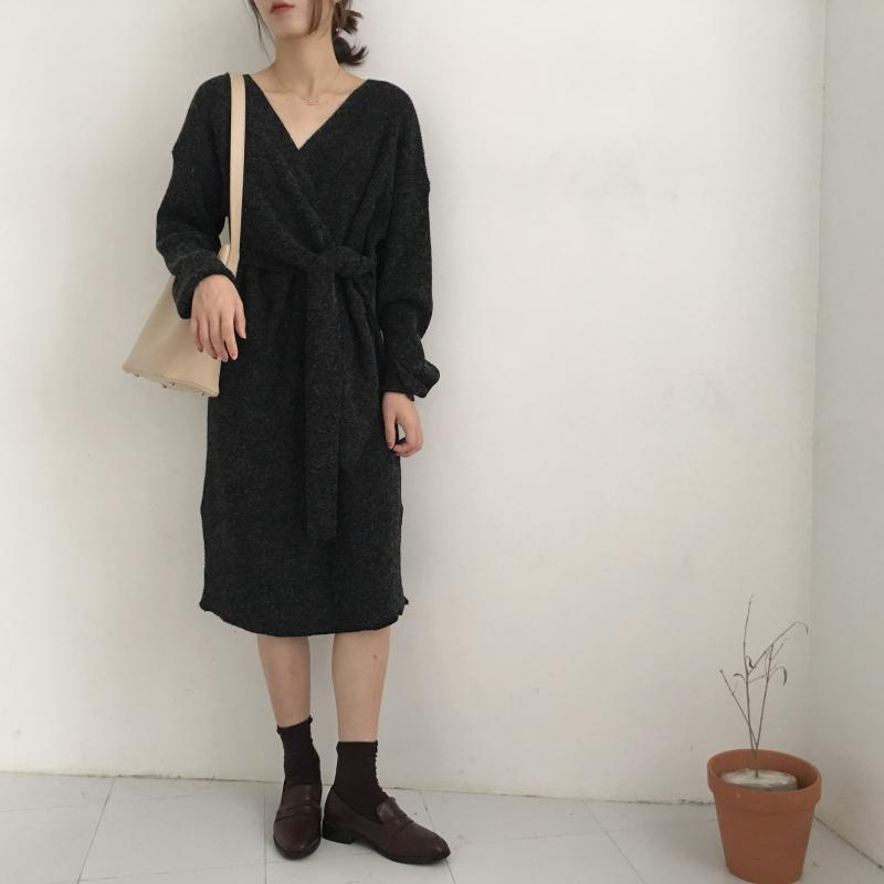 H2d5b6228591d415a94d54f42bd30041eC - Winter Korean V-Neck Long Sleeves Knitted Dress