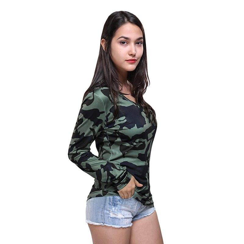 Modalità femmes Camouflage imprimé col en V pull à manches longues T-Shirt haut