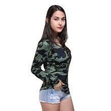 T-shirt manches longues pour femmes, haut imprimé Camouflage, col en V