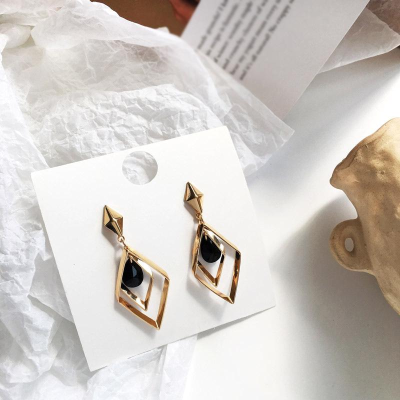 Fashion jewelry geometric personality rhombus dangle earrings hollow shape water drop earrings women jewelry girl best gifts