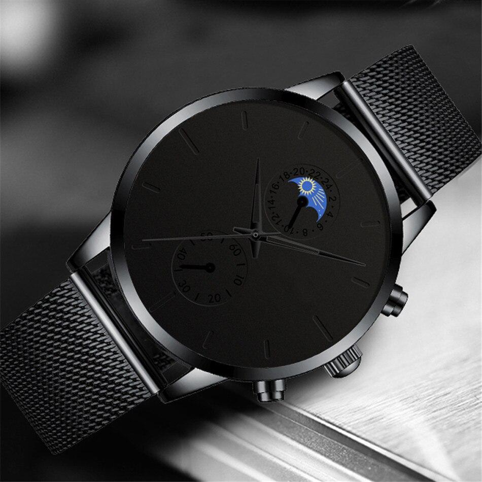 H2d5b6d2e624a476490be4df8128e46587 Fashion Mens Business Black Watches Luxury Stainless Steel leather Belt Watch Quartz Men Wrist Watch Relojes Hombre