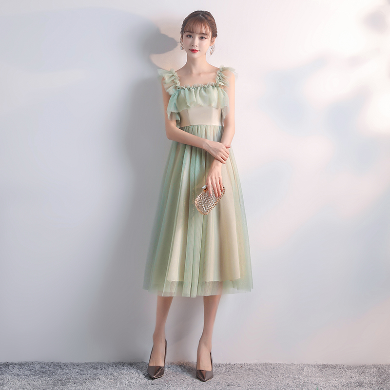 Green Tea-Length Bridesmaids Dresses Plus Size Tulle Elegant Dress Women For Wedding Party Sister Dress Prom Azul Royal Vestido