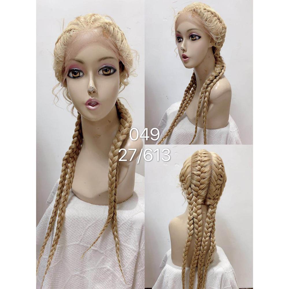 26 polegadas trançado perucas sintéticas peruca dianteira do laço para preto mulher caixa trança peruca do cabelo do bebê afro americano perucas femininas faux locs peruca