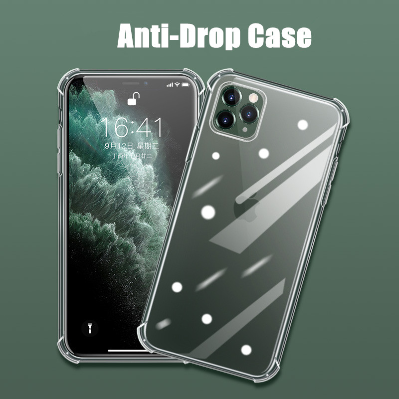 Shockproof Silicone <font><b>Case</b></font> For iPhone 11 Soft Clear Protection <font><b>Cases</b></font> For iPhone 11 Pro Max XR XS 8 7 6S 6 Plus 5 5S SE Back Cover image