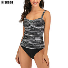 Riseado Plus rozmiar strój kąpielowy dwuczęściowy pasek stroje kąpielowe kobiet Push Up Tankini 2020 lato kostiumy kąpielowe Sexy Ruched stroje kąpielowe