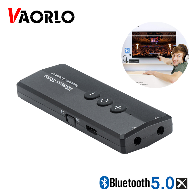 VAORLO 5.0 Audio Bluetooth Transmitter Audio 3 In 1 3.5MM AUX USB Wireless Bluetooth Adapter Dongle For Home TV PC CAR Headphone
