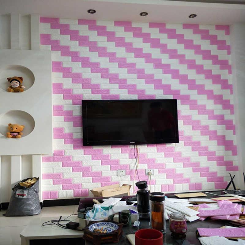 Tự dính 3D stereo dán tường phòng ngủ ấm trang trí Nền Giấy dán tường xốp gạch chống nước độ ẩm miếng dán