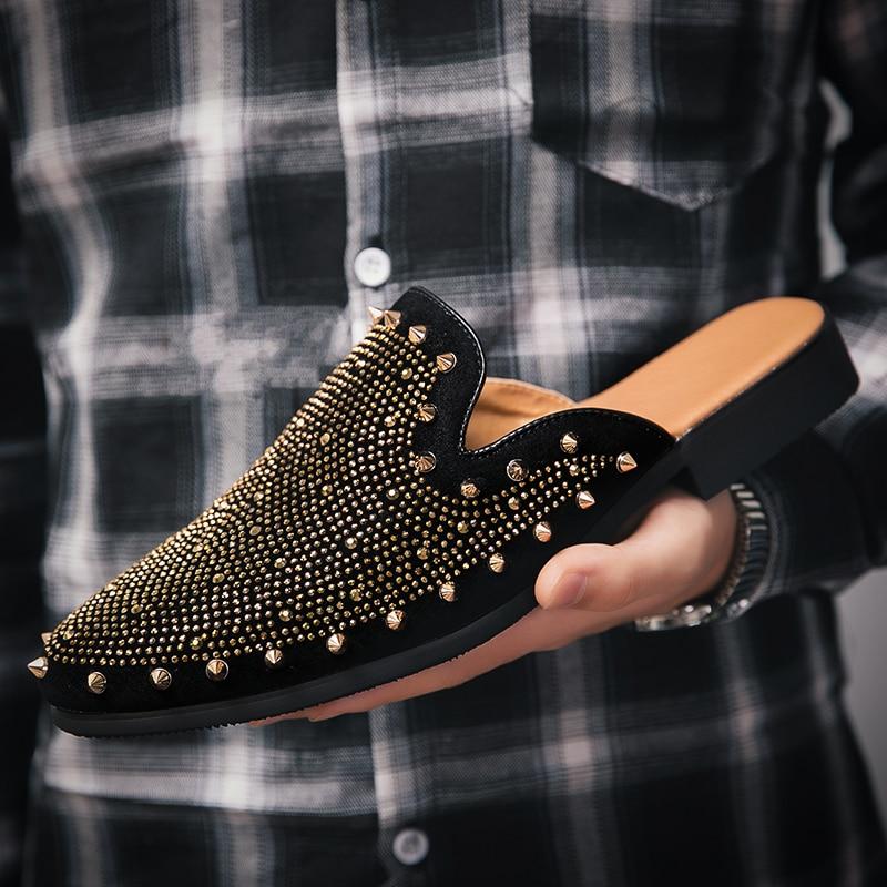 studded men leather shoes designer italian party evening oxfords elegant male dress moccasins vintage spiked pointed shoes man (16)