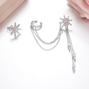 Image 3 - SLJELY marka 925 srebro grzywny projektant mikro cyrkonia długi Tassel gwiazda AB kolczyki kobiety moda seksowna biżuteria