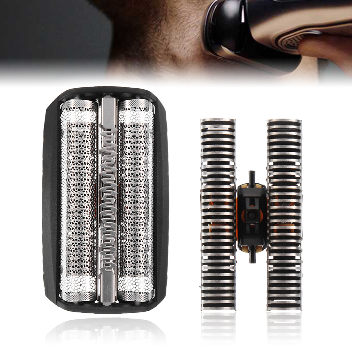 Durable 1Pc Shaver Replacement Film + 1Pc Razor Blade Shaving Head Set Foil 30B For BRAUN 310 330 Series 3 7000 4000