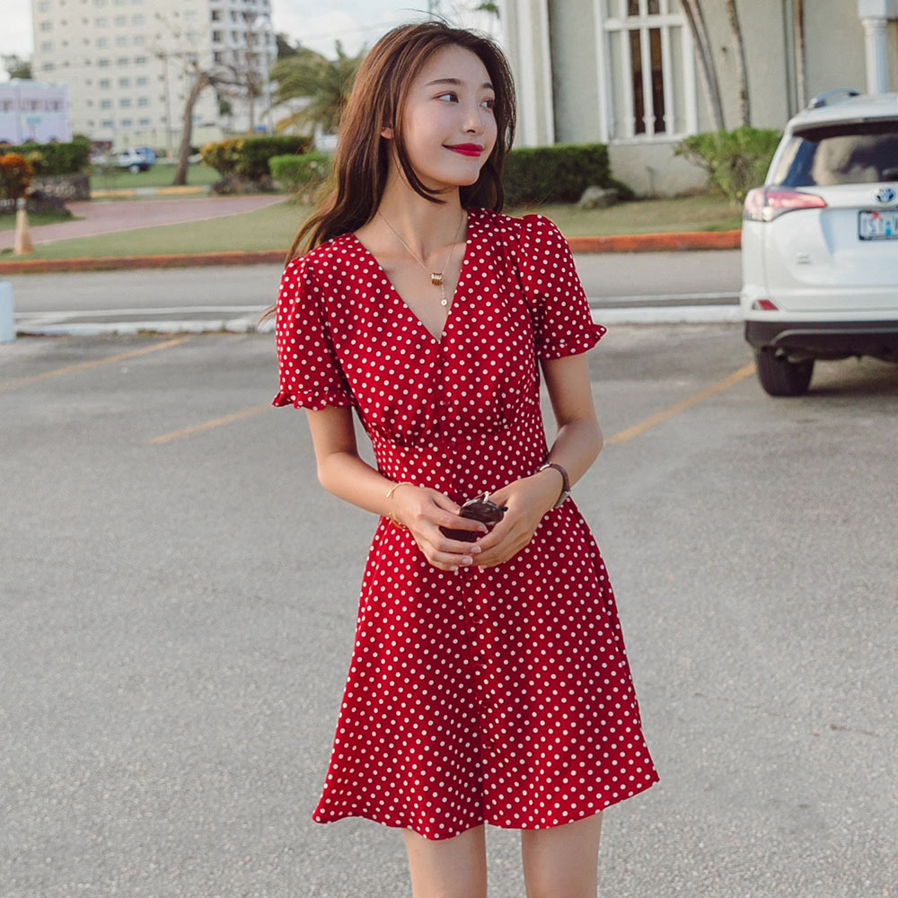 Red Polka Dot Dress 2019 New Style Women's Summer France Non-mainstream Retro Slimming Very Fairy Of Chiffon Platycodon Grandifl
