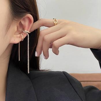 AENSOA-pendientes de aro con cristales Color dorado para mujer, aretes, Piercing, sin perforación, cartílago falso, 2020