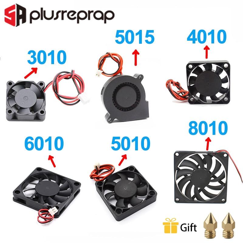 5015/4010/3010/5010/6010/8010 12V 24V Cooling Turbo Fan Brushless DC Cooler Blower 2-Wire Black Plastic Fan For 3D Printer