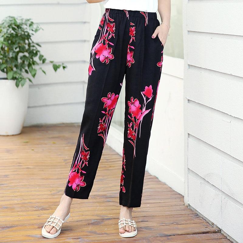 22 Colors 2020 Women Summer Casual Pencil Pants XL-5XL Plus Size High Waist Pants Printed Elastic Waist Middle Aged Women Pants 26