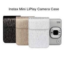 Fujifilm Instax Mini Liplay funda de piel sintética para cámara instantánea, película para fotos, correa para el hombro, funda protectora