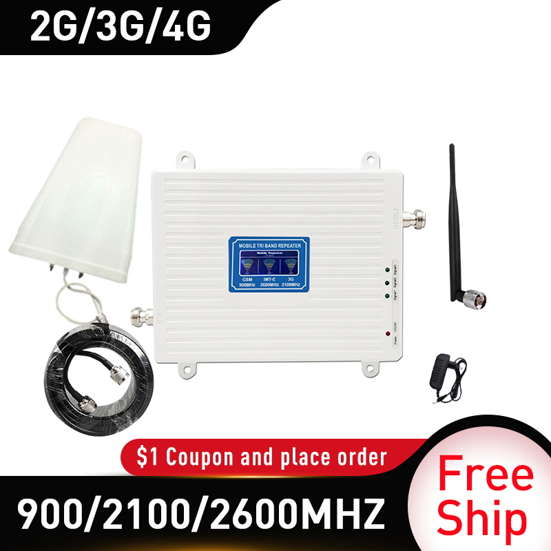 900/2100/2600mhz 4g Signal Booster GSM UMTS WCDMA FDD LTE 2G 3G 4G Cellular Mobile Signal Booster Amplifier 4G Whip Antenna