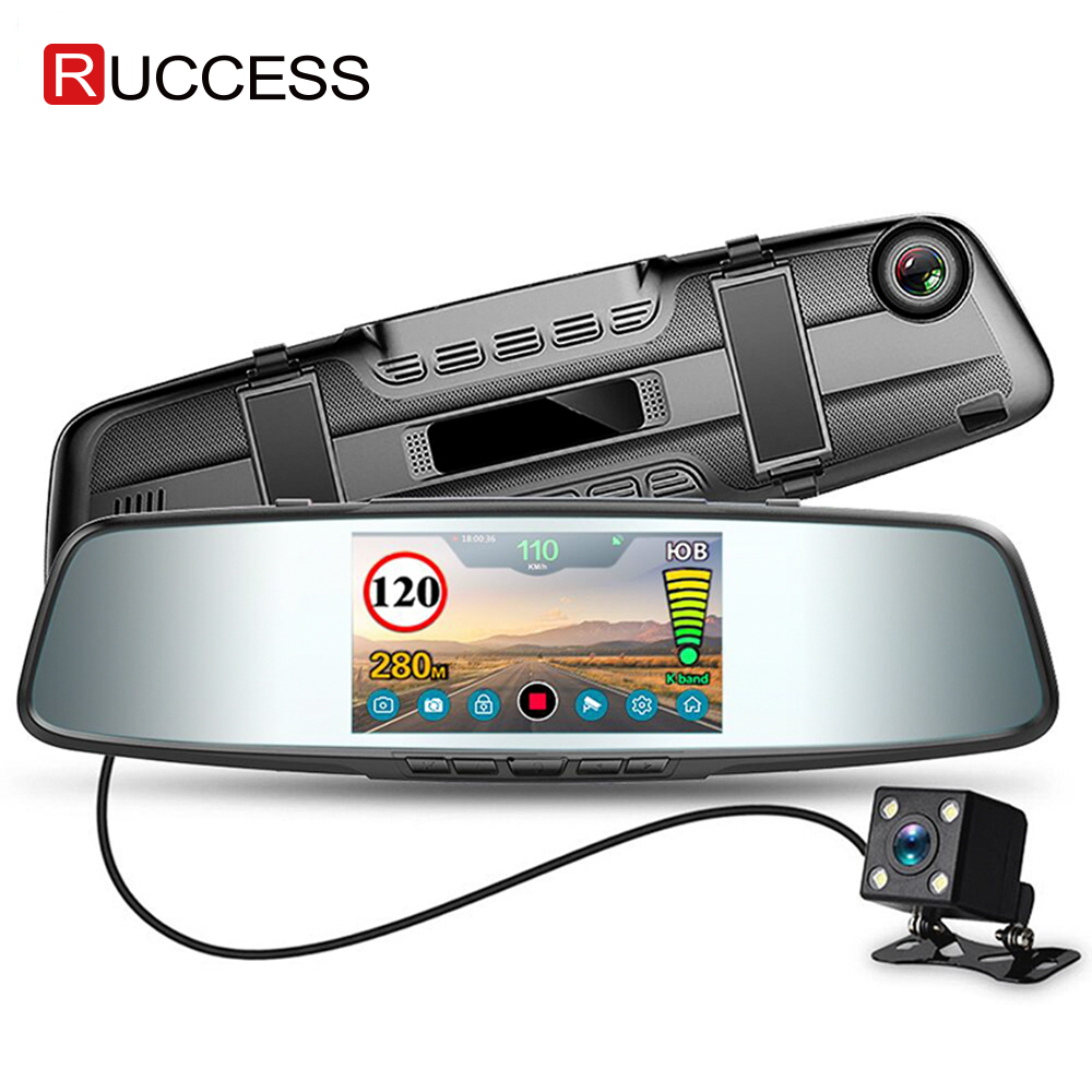 Ruccess Автомобильный видеорегистратор 3 в 1 зеркальная камера gps Радар детектор авто видео регистратор Full HD 1080P камера заднего вида с двумя объективами