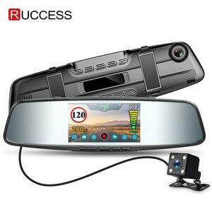 Image 1 - Ruccess רכב DVR 3 ב 1 מראה מצלמה GPS גלאי רדאר אוטומטי מקליט וידאו מלא HD 1080P דאש מצלמה עדשה כפולה אחורי מצלמה
