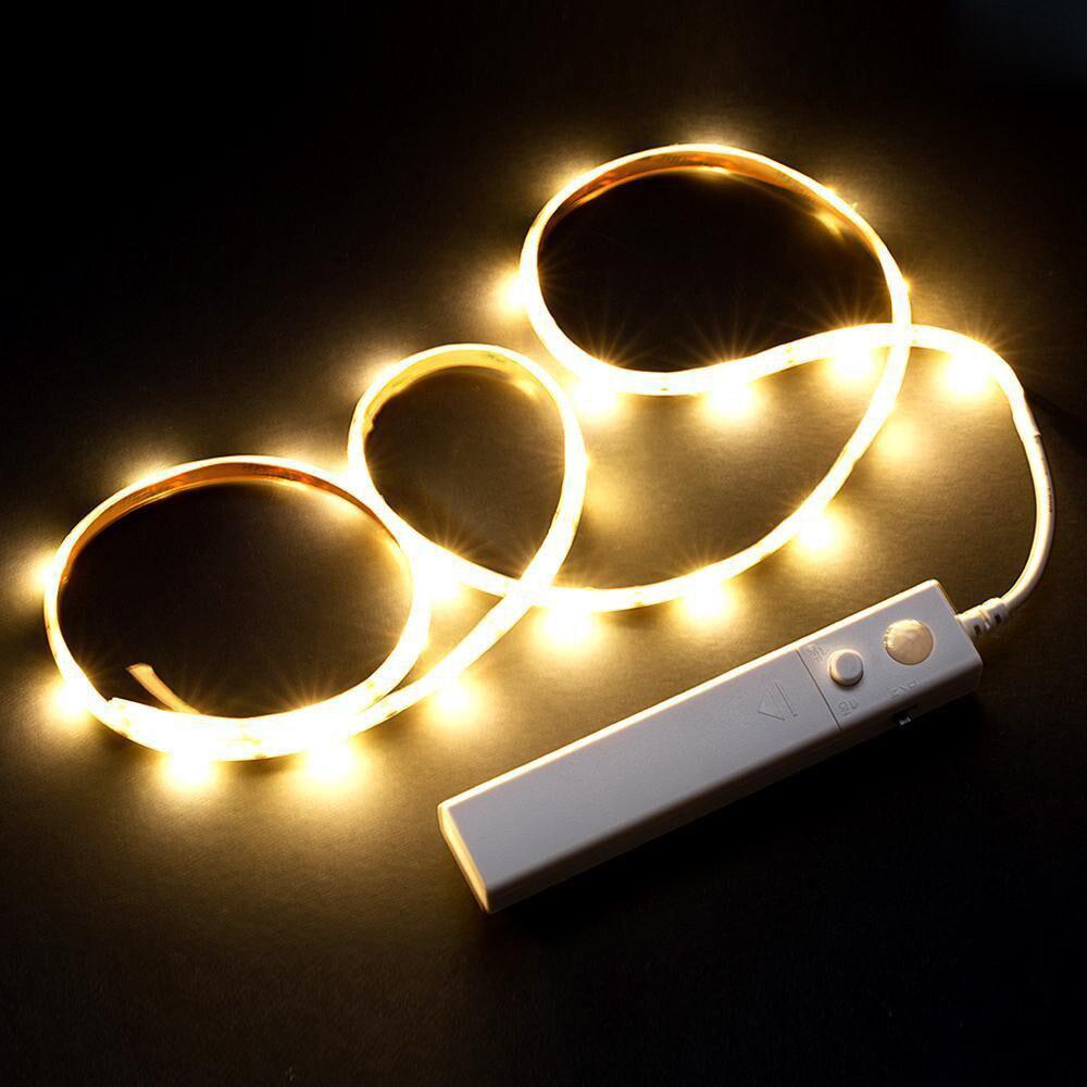 Battery Operated 1M LED Strip Light Wireless PIR Motion Sensor Wardrobe Cabinet Accessories 2019 Lamp Home#30