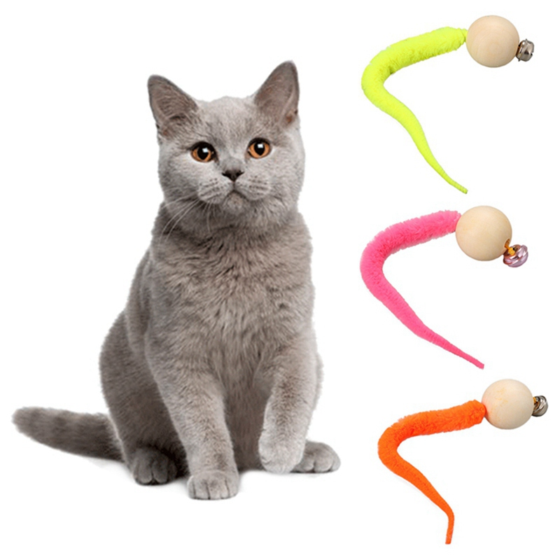 Simulation Worm Toy With Bell For Pet Wooden Ball Head And Plush ...